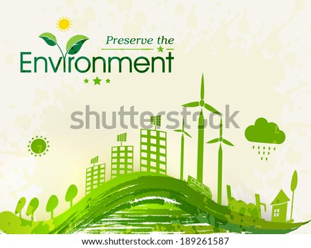 World Environment Day concept with illustration of beautiful green urban city and waves.