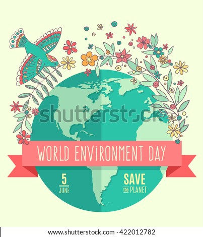 World environment day concept with mother earth globe and green leaves and flowers on beige background. With an inscription Save the Planet, 5 June. Vector Illustration.