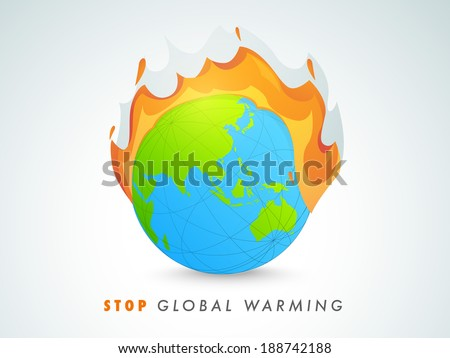 World Environment Day concept with mother earth globe in fire with text Stop Global Warning on grey background.