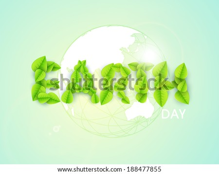 World Environment Day concept with stylish text Earth made by green leaves on world map background.