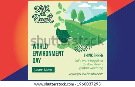 World environment day. Green Eco Earth. World environment day vector illustration. World environment day background. Happy environment day card.