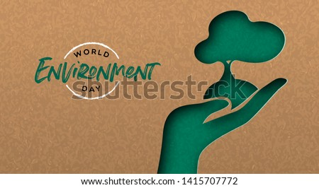 World Environment Day greeting card illustration of green papercut hand with tree. Nature care concept for ecology event.