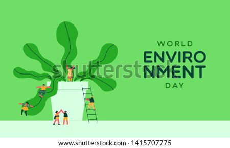 World Environment Day illustration of happy people playing with green pant. Social awareness concept for nature conservation event.