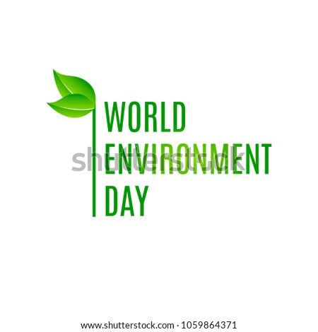 World environment day logo with green leaves. Vector illustration.