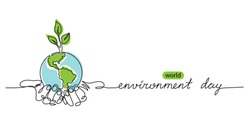 World environment day minimalist vector background with earth in hands and plant. One continuous line drawing. Poster, banner, background with lettering environment day.