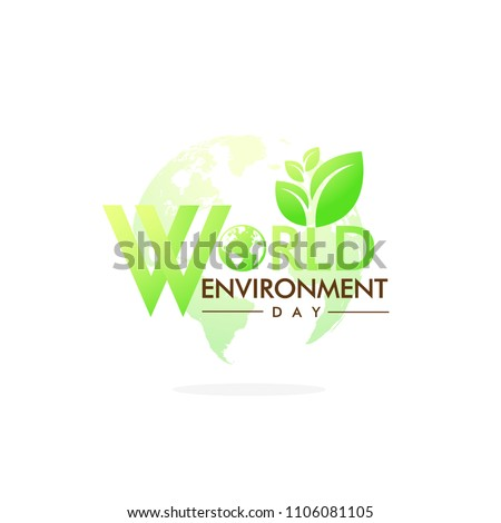 World Environment Day On Green Gradient Background. Vector Illustration.