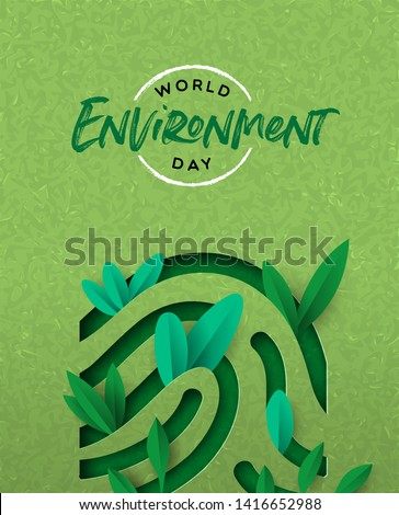 World Environment Day papercut illustration of human finger print with green plant leaves. Ecology awareness concept for special holiday..