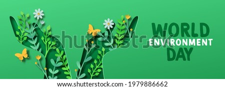 World Environment day papercut web banner illustration of green people hand symbol with 3d paper craft nature decoration. June 5 earth care holiday event design.