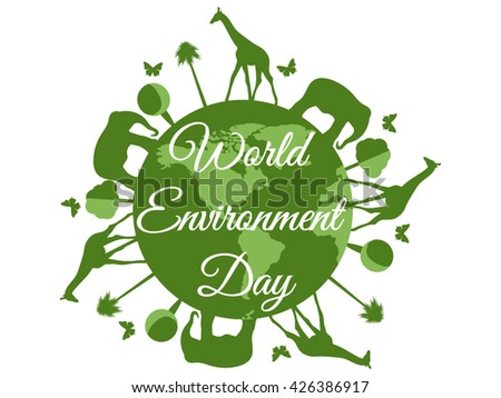 World Environment Day, planet earth with animals. Vector.