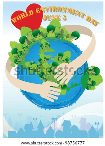 World Environment Day - protecting beautiful planet from global warming and pollution on blue background : vector illustration
