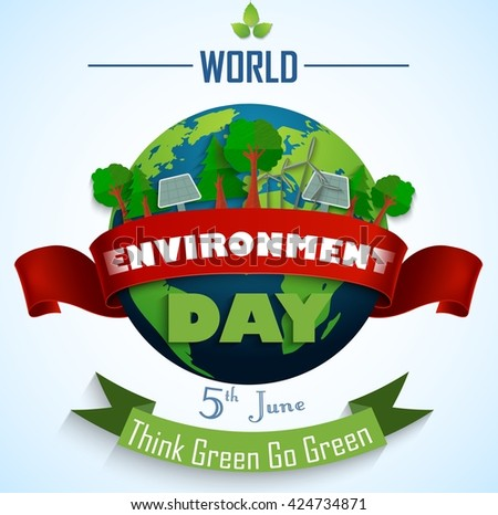 World environment day 5th june with Red and green Ribbons.Vector