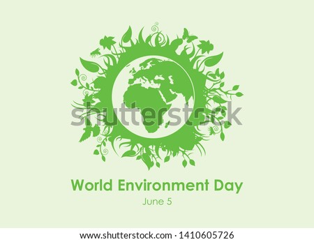 World Environment Day vector. Environment vector illustration. Green planet earth vector. Planet Earth with fauna and flora vector. Environmental concept with eco planet earth. Important day