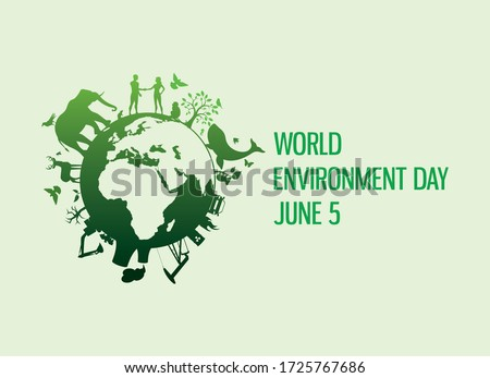 World Environment Day with nature and environment icon vector. Planet Earth with fauna and flora icon. Polluted environment vector. Industry and nature vector. Environment Day Poster, June 5