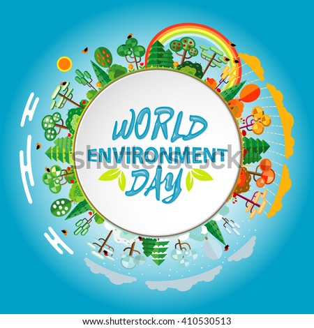 World environment day. World environment day concept. Green Eco Earth. World environment day vector illustration. World environment day background. world environment day card.