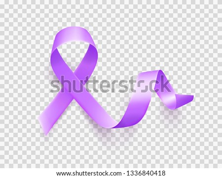 World Epilepsy day. March 26. Realistic purple ribbon symbol over transparent background. Template for poster with handdrawn lettering. Vector illustration.