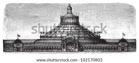 World exhibition building in Vienna 1873 - Rotunda / vintage illustration from Brockhaus Konversations-Lexikon 1908