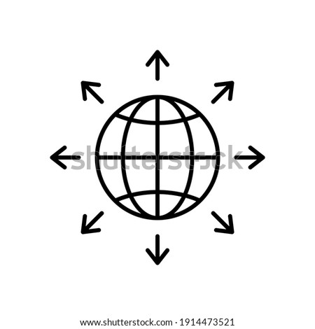 World expansion black icon. Globe line symbol with arrows. Vector isolated on white Foto d'archivio ©