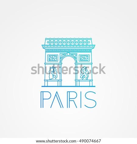 World famous Arc de Triomphe. Greatest Landmarks of Europe. Linear modern style vector icon symbol of Paris, France. Minimalist one line Trendy symbol.