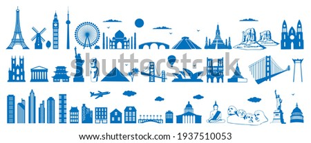 World famous architecture landmarks silhouettes, vector illustration. Travel, tourist attractions, monuments. Eiffel Tower, Big Ben, Statue of Liberty, Taj Mahal,Egypt pyramid.