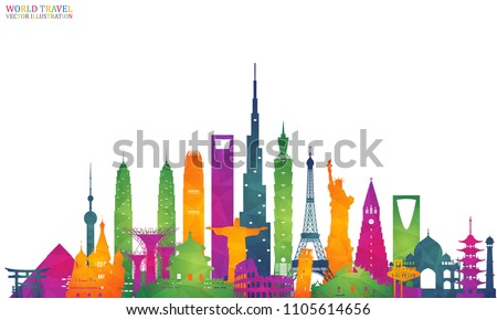 World famous Landmark colorful art. Global Travel And Journey Infographic Back. Vector Flat Design Template.vector/illustration.Can be used for your banner, business, education, website or any artwork - Shutterstock ID 1105614656