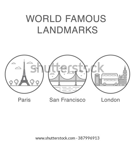 World famous landmarks icons set with eiffel tower, big ben and golden gate bridge vector illustrations. ストックフォト ©