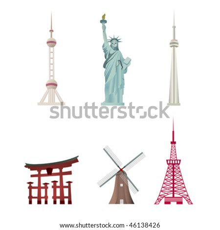 World Famous Landmarks include Oriental Pearl Tower of Shanghai, Statue of Liberty of New York, CN Tower of Toronto,Tokyo Tower of Tokyo, Tori represents Japan and Windmill represents the Netherlands.