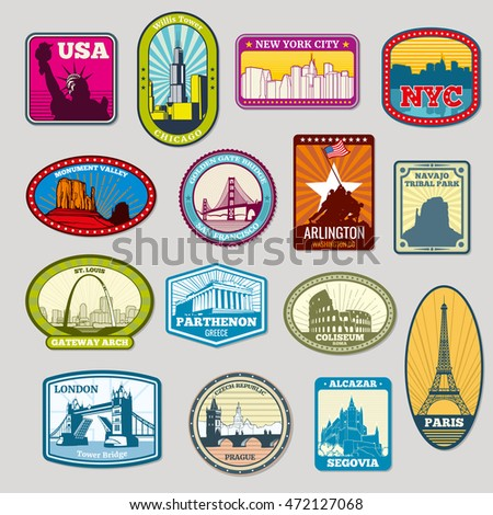 World famous monuments and landmarks labels, emblems. Travel tourism. Vector illustration ストックフォト ©