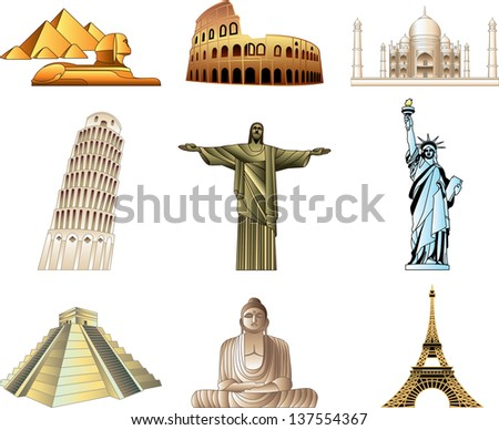 world famous monuments icons detailed vector set