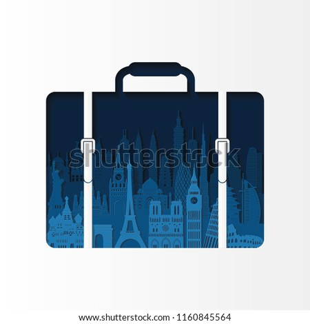 World famous monuments. Travel and tourism background. London, Paris, Moscow, Rome, New York, Asia, Dubai, India, China, Thailand famous monuments. Vector illustration