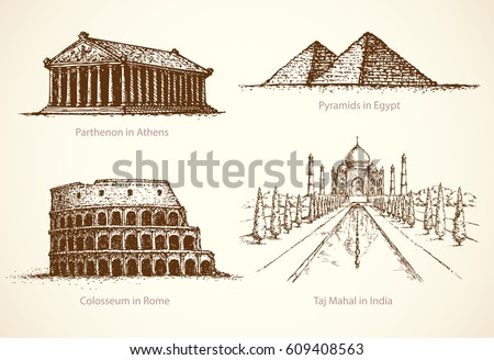 World famous national cultural touristic sights place of old known great historic memorial museum. Freehand outline ink hand drawn picture sign sketch in art retro doodle style pen on paper background