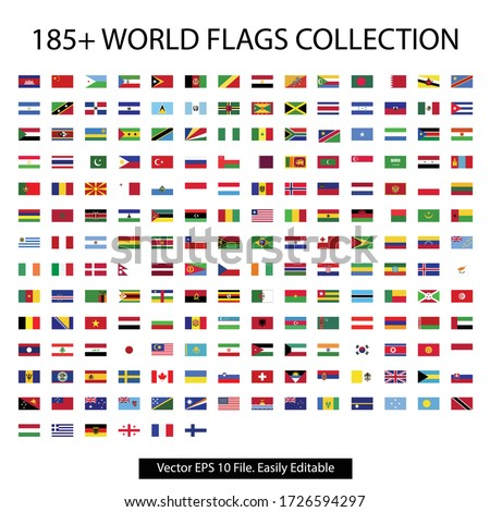 World flag collection with vector file. 180 plus nations flag vector jpeg icon logo collection