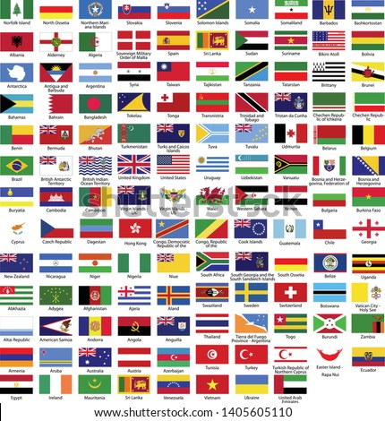 World flag flat icon collection with all nations country flags