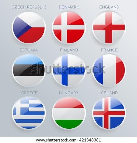 world flag glass icon set