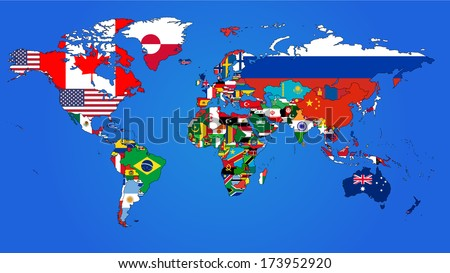 Royalty free the world map with all states and their 377445283 world flag map with a blue background 173952920 gumiabroncs Gallery