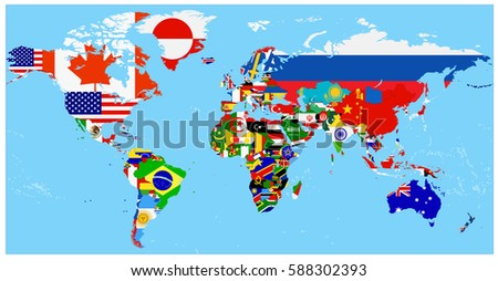 world flag map with a blue...