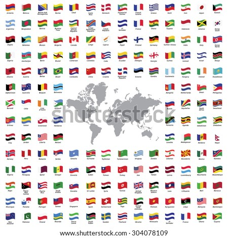 World flags all vector color official isolated
