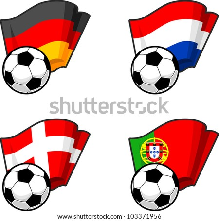 World flags and soccer ball