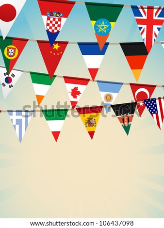world flags bunting background