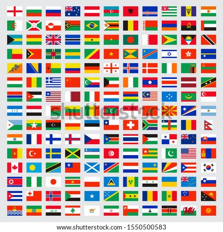 World flags collection. Laws name independent symbols map vector colored banners vector