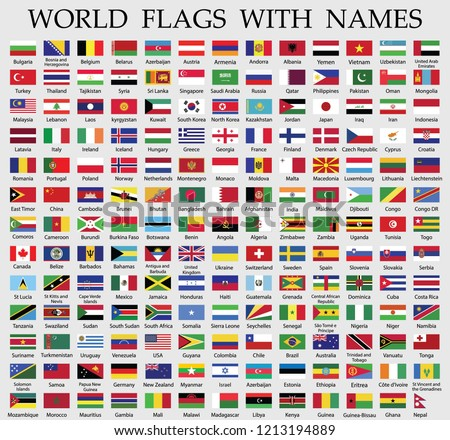 world flags collection with names