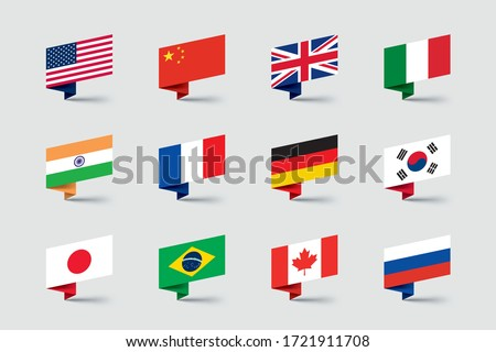 World Flags 3d Folded Paper Ribbon Shapes Vector Set