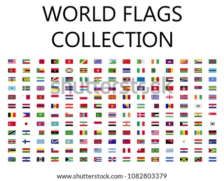World flags flat icon collection