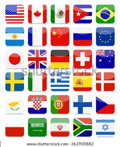 world flags flat square icon