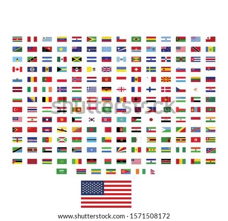 world flags illustration vector.  rectangle design. square design.