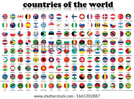 World flags in a circle. Round icon for social networks. Ideal for bloggers. Vector