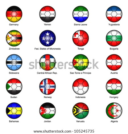 World Flags in Footballs Pack 6