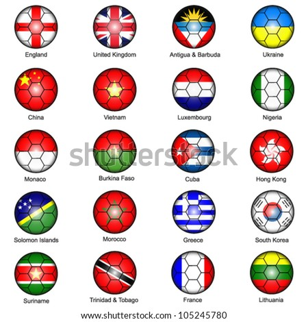 World Flags in Footballs Pack 1