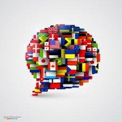 World flags in form of speech bubble. Vector illustration