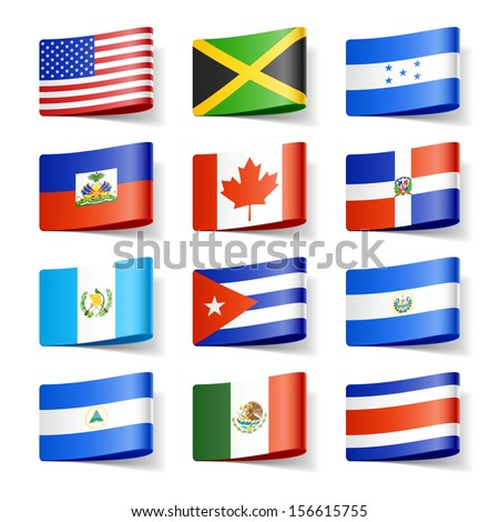 Shutterstock World flags. North America. Vector.