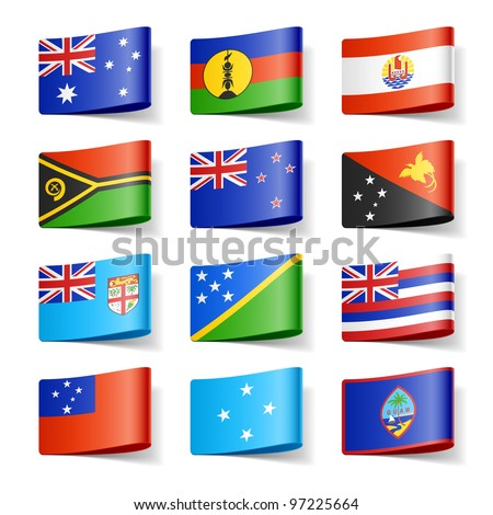World flags. Oceania. Vector.